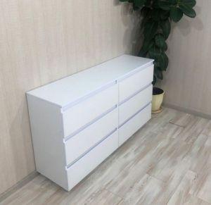 Мебель ручной работы Комод Кt-107 без ручек, белый /дуб Сонома