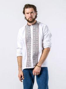 Мужские вышиванки Белая рубашка с геометрическим орнаментом на пуговицах KOLOS