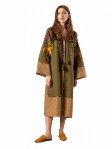 Женские вышиванки Миди платье хаки цвета с аппликацией и вышивкой Meduza Dress