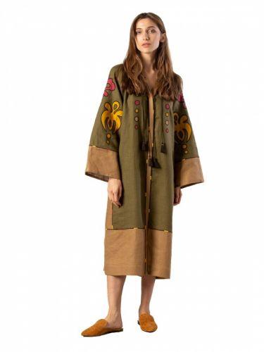 Миди платье хаки цвета с аппликацией и вышивкой Meduza Dress