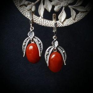 Сережки ручної роботи Срібні сережки з сердоліком