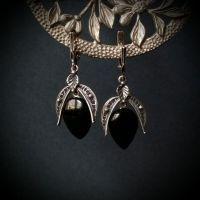 Серебряные серьги с черным агатом