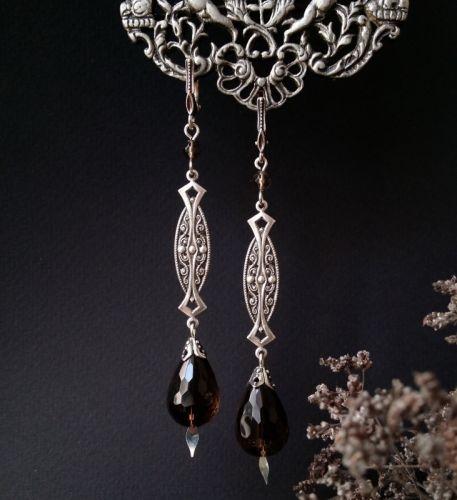 Длинные серьги с раухтопазом и серебром - изображение 1