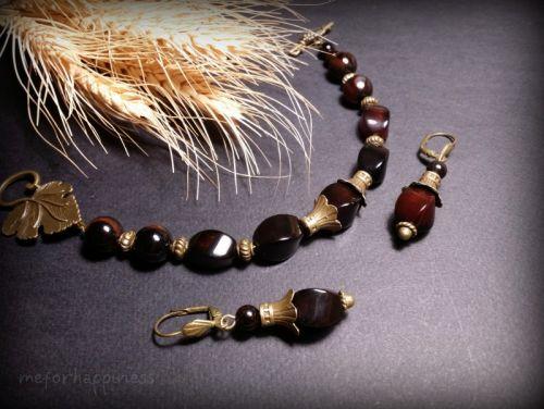 Чорний агатовий браслет та сережки
