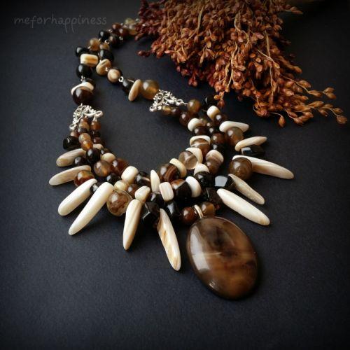 Агатовое ожерелье с подвеской Лесные зимы