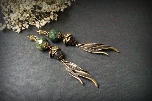 Серьги со змеевиком, агатом и листьями ивы