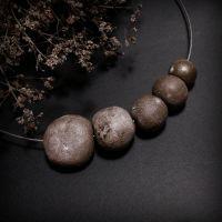 Бусы Иней из керамики ручной работы