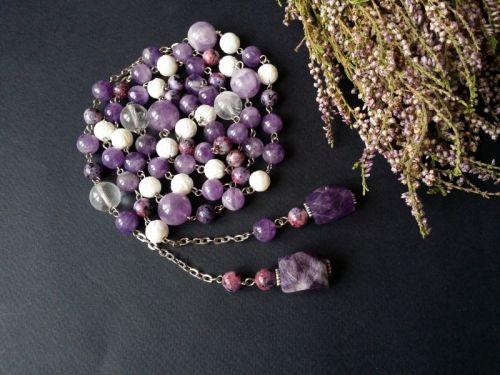 Фіолетове намисто з аметистом