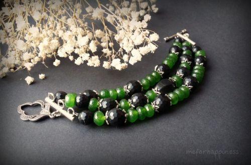 Черно-зелений браслет