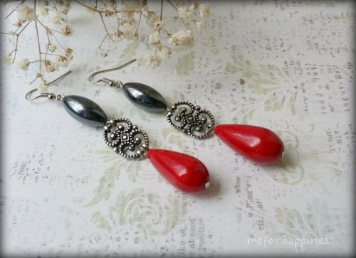 Червоні сережки з гематитом