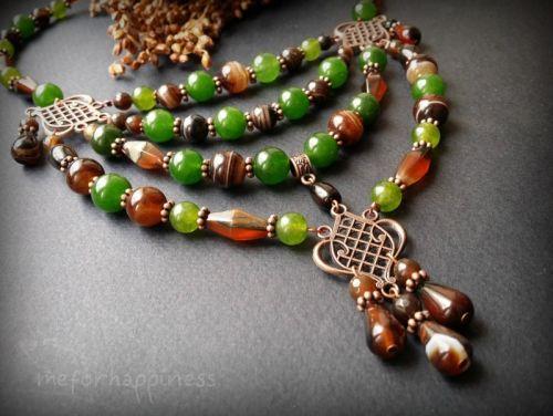 Коричнево-зеленое ожерелье из агата и кварца