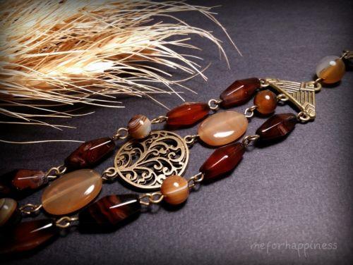 Агатовий коричневий браслет в 3 ряди