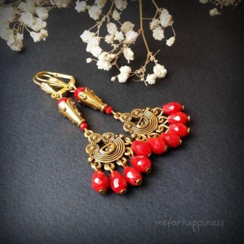 Червоно-золоті сережки зі скла