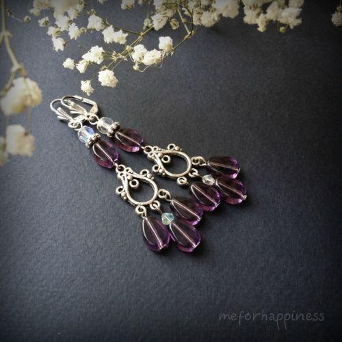 Фиолетовые серьги с тремя стеклянными каплями