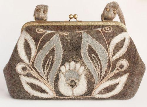 """Валяная сумочка-саквояж """"Волшебный Цветок"""""""