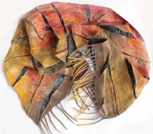 Валяный шарф Золотые блики