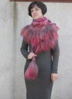 Валяный шарфик пушистый розовый