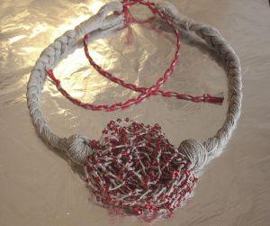 """Ожерелье из натурального льна """"Маковая паутина"""""""