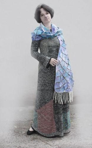 Валяный шарфик перламутр