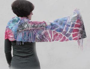 Одежда из льна Валяный шарфик ГОЛУБЫЕ МЕЧТЫ