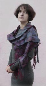 Одежда из льна Валяный шарфик Лучи закатного солнца
