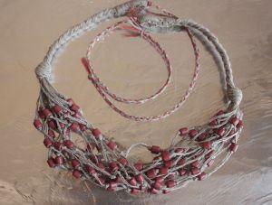 Ожерелье из льна Кораллы женские Терракотовые сны