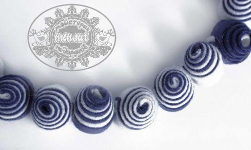 """Ожерелье из натурального фетра """"Синие ракушки"""""""