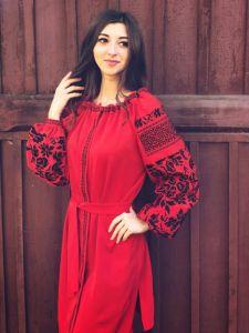 Вышитые платья Платье Монохром Красное