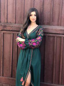 Borshchivyanka etno style Сукня-халат Смарагдова
