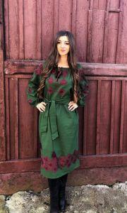 Borshchivyanka etno style  Сукня Зелена Ромби