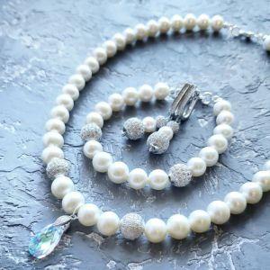Комплекти Комплект весільних чи святкових прикрас з великих натуральних перлів