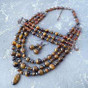 Комплекты Комплект из натуральных камней тигровый глаз и гематит 3в1