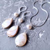 Комплект в серебре роскошные серьги и кулон на цепочке