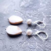 Серебряные серьги с натуральным роскошным перламутром и жемчугом