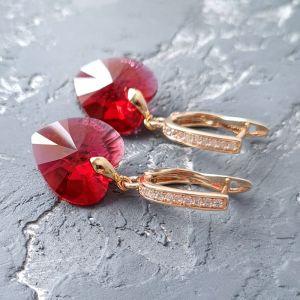 Серьги ручной работы Позолоченные серьги с кристаллами Swarovski сердце Scarlet