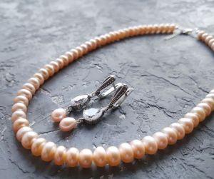 Комплекты Серебро и натуральный жемчуг колье и серьги с кристаллами