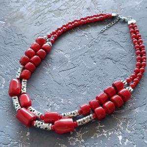 Ожерелье ручной работы Бусы из натурального коралла двухрядные