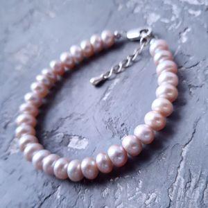 Браслети ручної роботи Браслет з натуральних лавандових перлів