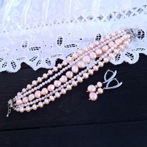 Комплекты Комплект из натурального персикового жемчуга и кристаллов