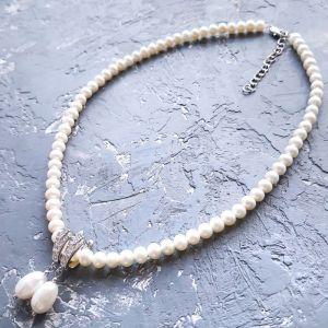 Акції Комплект з натуральних перлів намисто та сережки