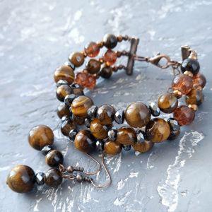 Комплекты Комплект из натуральных камней тигровый глаз и гематит браслет и серьги