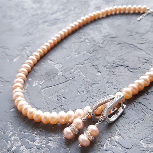 Натуральні персикові перли намисто та сережки з кристалами