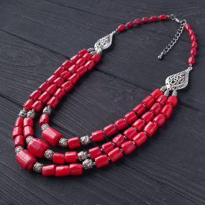 Ожерелье ручной работы Бусы из натурального коралла праздничные