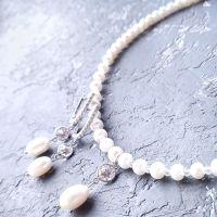 Серебряные украшения для невесты колье и серьги с жемчугом