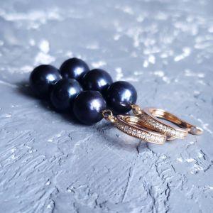 Акції Сережки з натуральних чорних перлів у позолоті