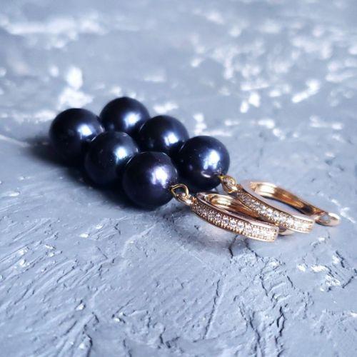 Серьги из натурального жемчуга в позолоте - изображение 1