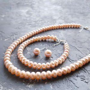 Акції Срібло і натуральні перли комплект намисто браслет сережки