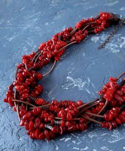 Прикраси на шию Намисто з натуральних коралів пишне семирядне