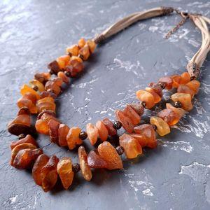 Ожерелье ручной работы Колье двухрядное из натурального необработанного янтаря