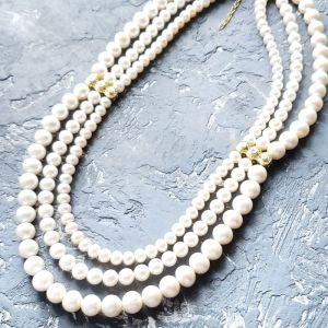 Буси ручної роботи Кольє з натуральних перлів для нареченої чи на річницю весілля
